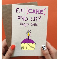 "Postkaart ""Eat cake and cry"""